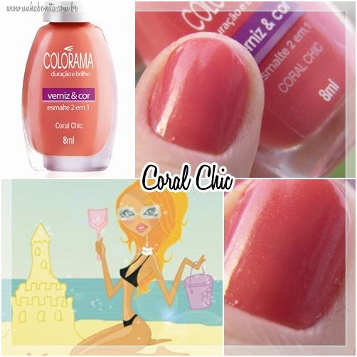coral chic colorama glam unha bonita