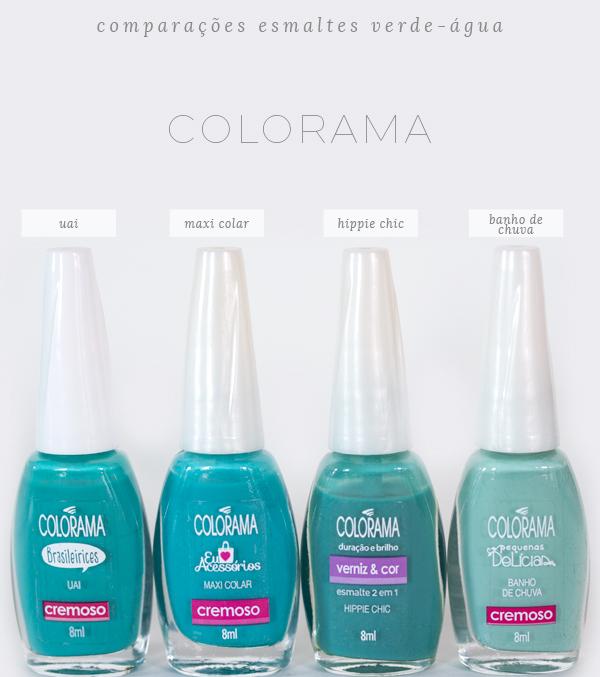 comparações-esmaltes-verde-água-colorama
