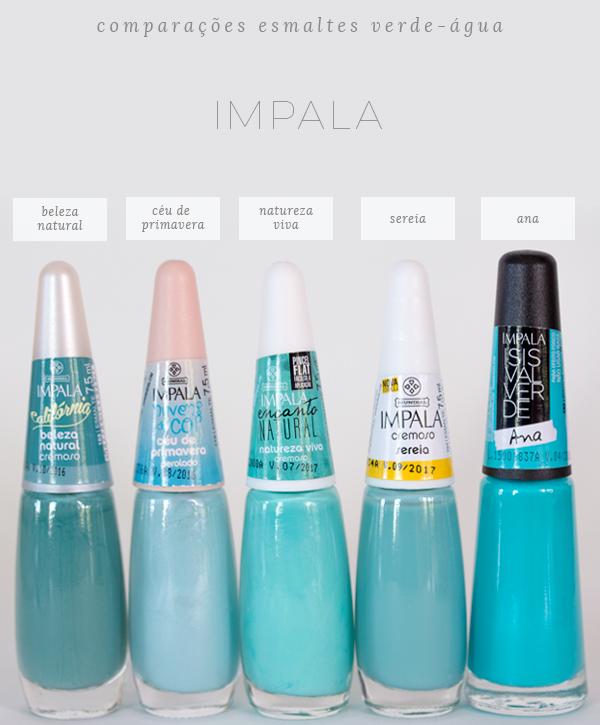 comparações-esmaltes-verde-água-impala